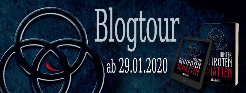"""Banner zur Blogtour für """"Hinter blutroten Schatten"""""""
